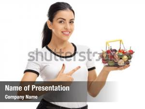 Nutritious woman holding a small