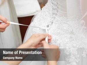 White women lacing wedding dress