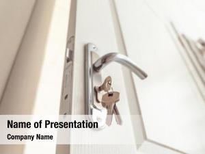 Knob metal door keys closeup