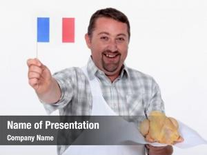 Waving frenchman proudly flag over