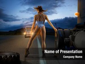 Trucker beautiful woman replace tire