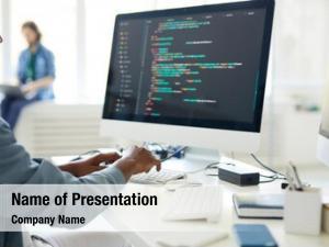 Specialist computer programming working desktop