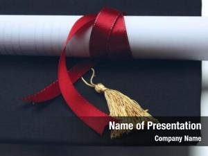 Red university diploma ribbon white