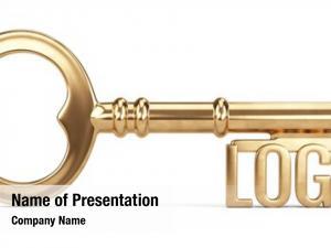 Key golden login white