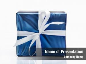 Box blue gift white ribbon