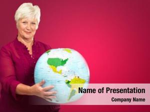Holding senior woman globe red