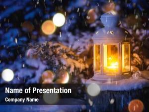 Snowfall christmas lantern night