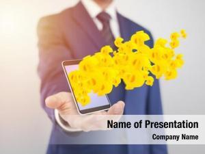 Yellow businessman smartphone dollar symbols