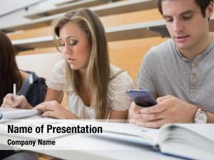 Smartphone student using lecture hall