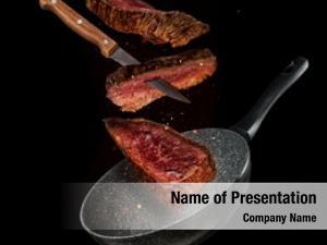 Beef flying pieces steaks pan,