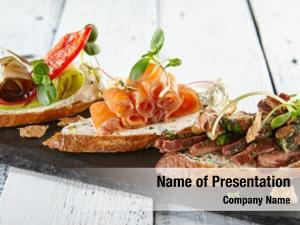 Delicious restaurant food various bruschetta