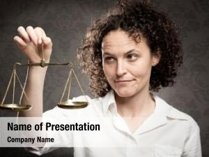 Justice businesswoman holding scale