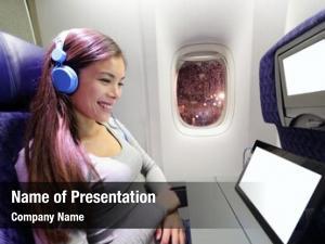 Airplane plane passenger using tablet