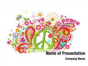 Hippie psychedelic colorful peace symbol,