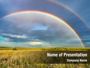 Stormy rainbow over sky