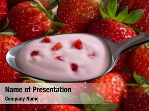 Cream strawberry yogurt spoon strawberry