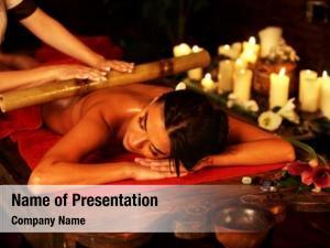 Woman bamboo massage spa salon