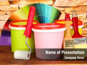 Paint set painting: pots, brushes,