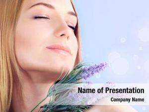 Enjoying young woman lavender flower