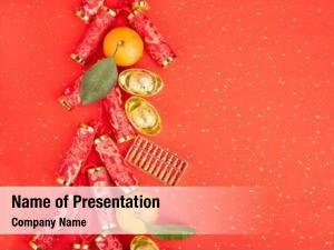 Year chinese new ornament  gold ingot,firecrackers,orange,golden