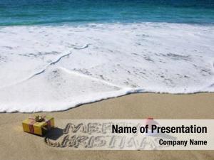 Beach christmas words sand