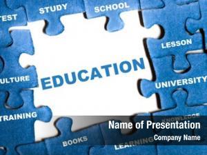 Puzzle education blue pieces assembled