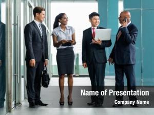 Front business team bank facade