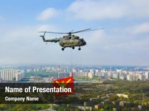 Flag helicopter military over moscow