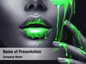 Paint neon green smudges drips