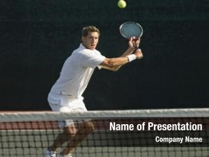 Player male tennis hitting backhand