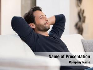 Man portrait young resting sofa