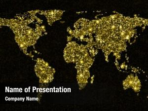 Light gold glittering world map