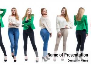 Blonde collage fashion models, white
