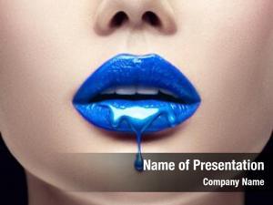 Drips blue paint lips, lipgloss