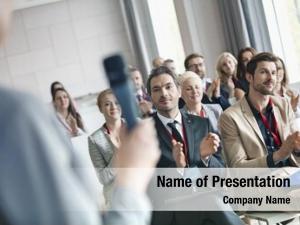 Applauding business people public speaker