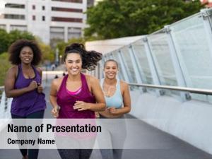 Curvy happy young women jogging