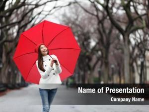 Umbrella woman red walking park