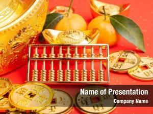 Year chinese new ornament  gold ingot,orange,golden