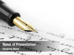Hand gold pen written letter