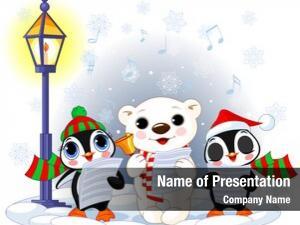 Cute christmas carolers, polar bear