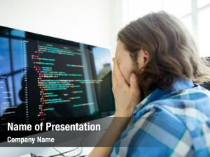 Young stressed tired male computer