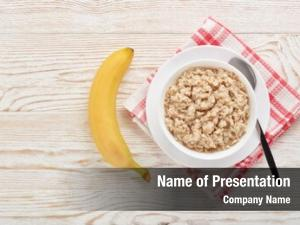 White oatmeal porridge bowl banana