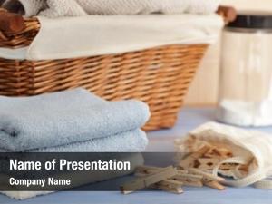 Towels, clothespins bag, laundry detergent