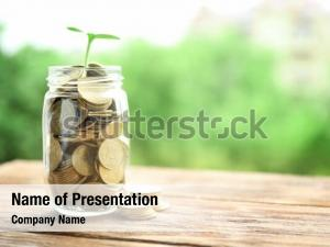 Jar with coins and green