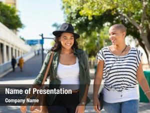 Women young smiling walking talking