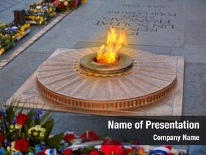 Memorial unknown soldier flame under
