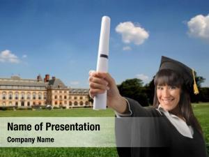 Graduate smiling female diploma university