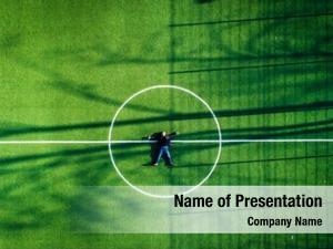 Center man lying football field,