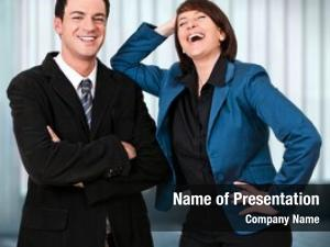 Laughing friendly businessteam into camera
