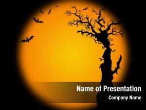 Tree halloween bat silhouette